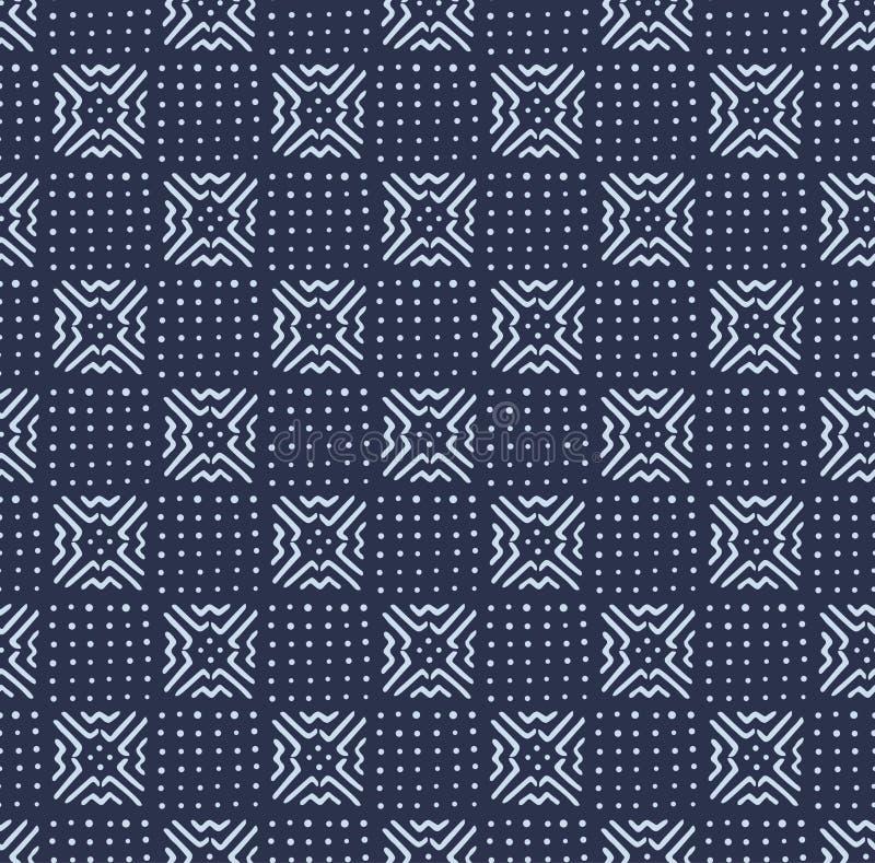 African Indigo Tile Seamless Pattern stock illustration