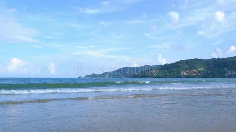 Wave at Phuket island beach , Andaman Sea at noon in Thailand. Nature sky background.  royalty free stock photo