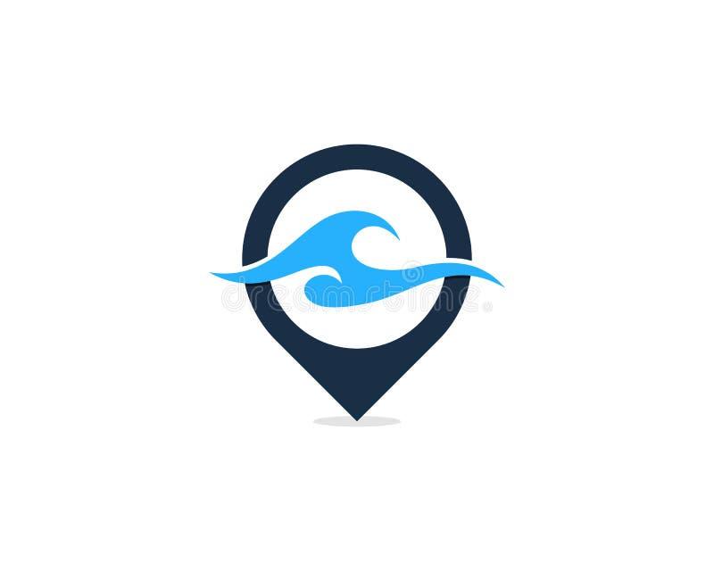 Wave Pin Point Icon Logo Design Element royalty free illustration