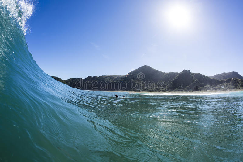 Wave Pitching, North Piha, New Zealand. A water shot taken as a wave started to pitch at North Piha Beach, New Zealand royalty free stock photos