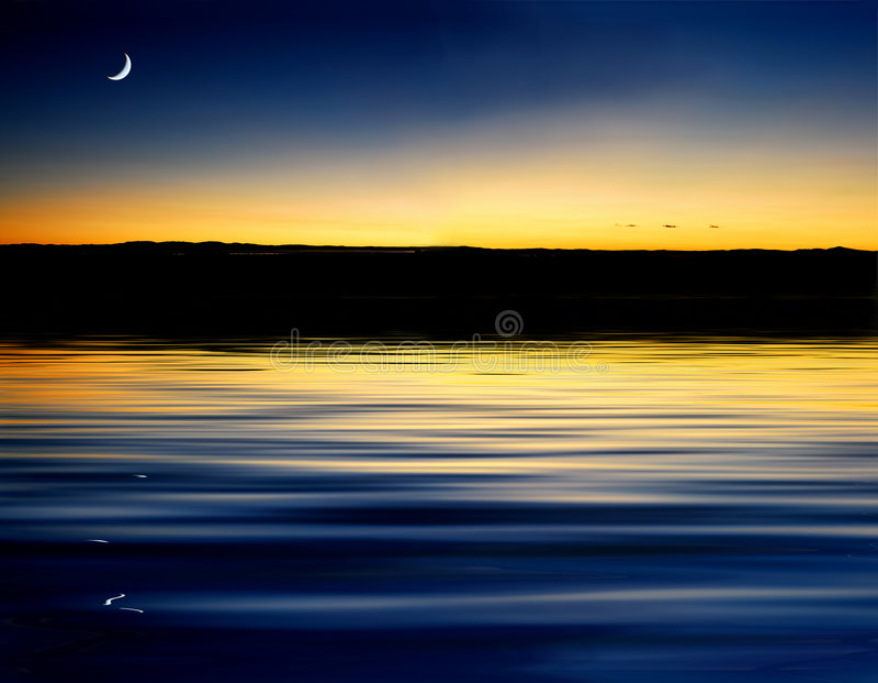 Wave reflection sunset stock photos