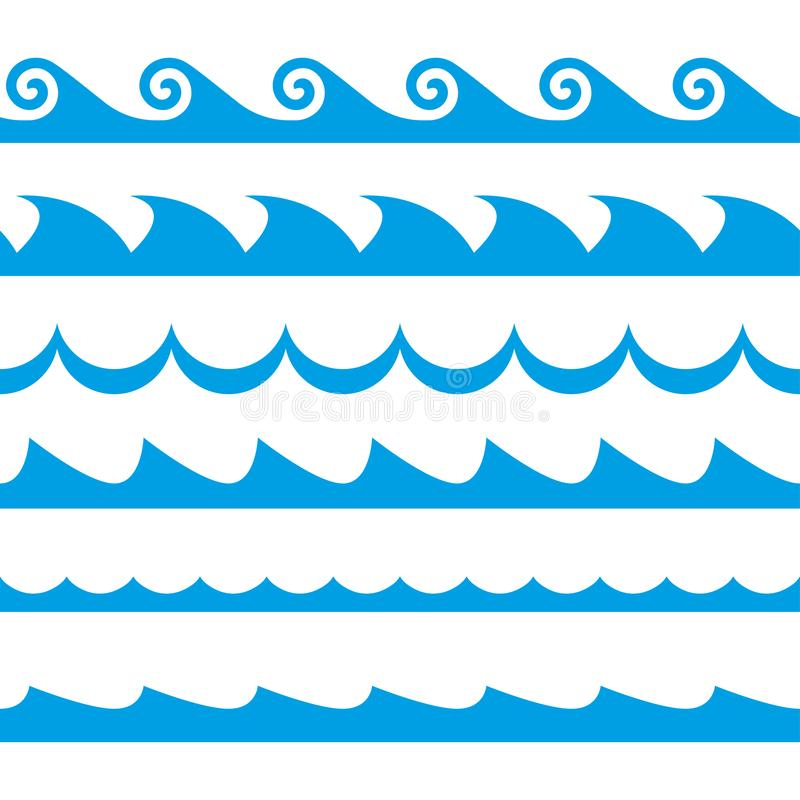 Free Wave Set. Waves Seamless Pattern. Decoration Template Of Sea And Ocean Waves. Vector Illustration. Royalty Free Stock Photography - 129325737