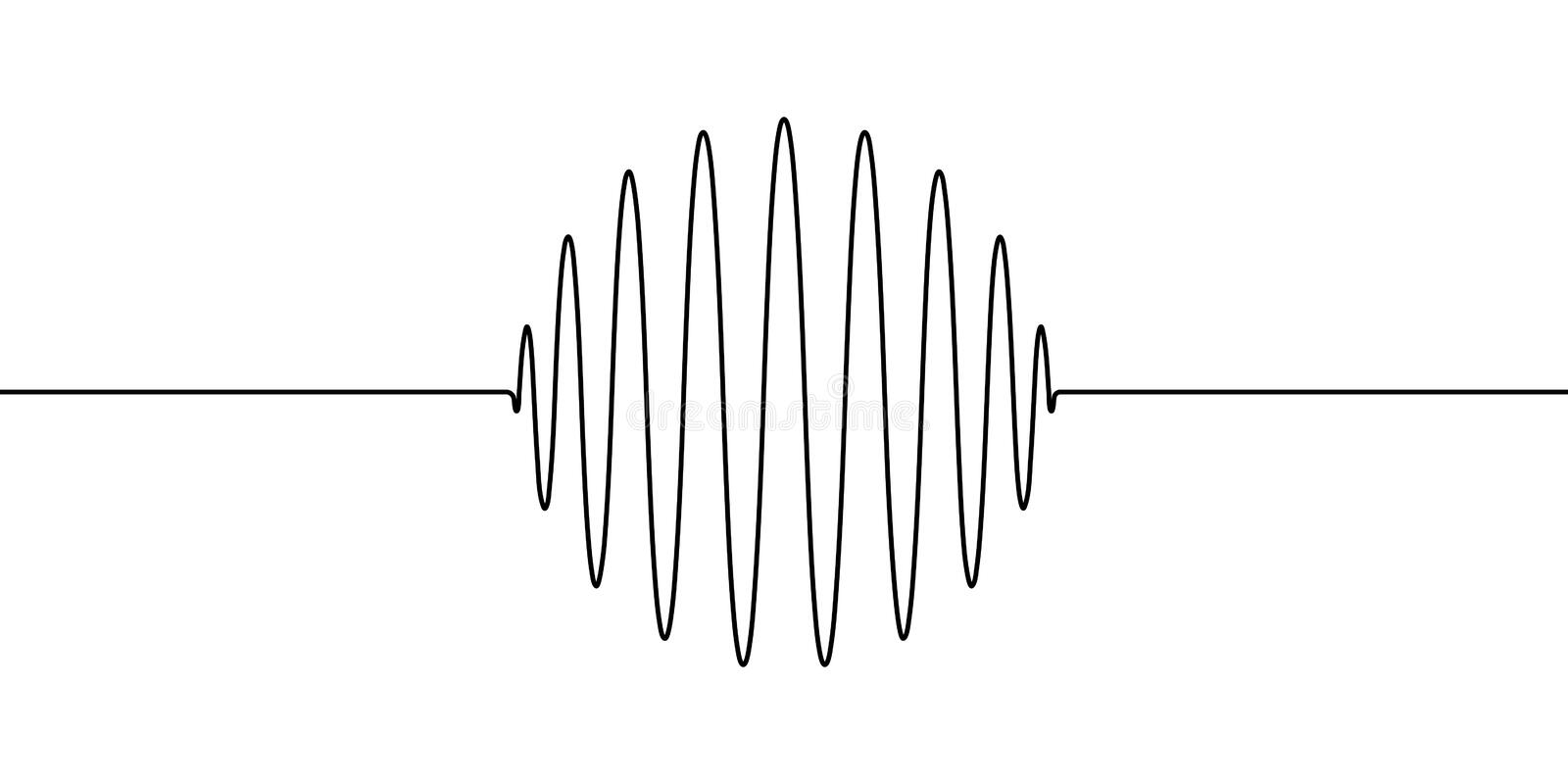 Wave forms of the amplitude round ring sphere, vector to draw one line wave sound, vibrations, acoustic waves, oscillation circle vector illustration