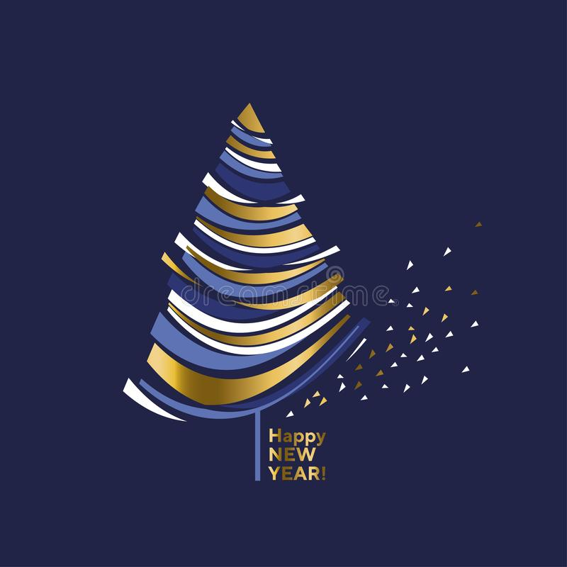 Wave shape gold and blue decorative abstract Christmas tree. vector illustration