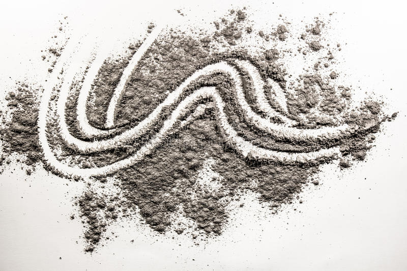 Wave shape illustration drawing made in pile of sand, dust. Wave shape illustration drawing made in pile of grey ash, sand, dust royalty free illustration