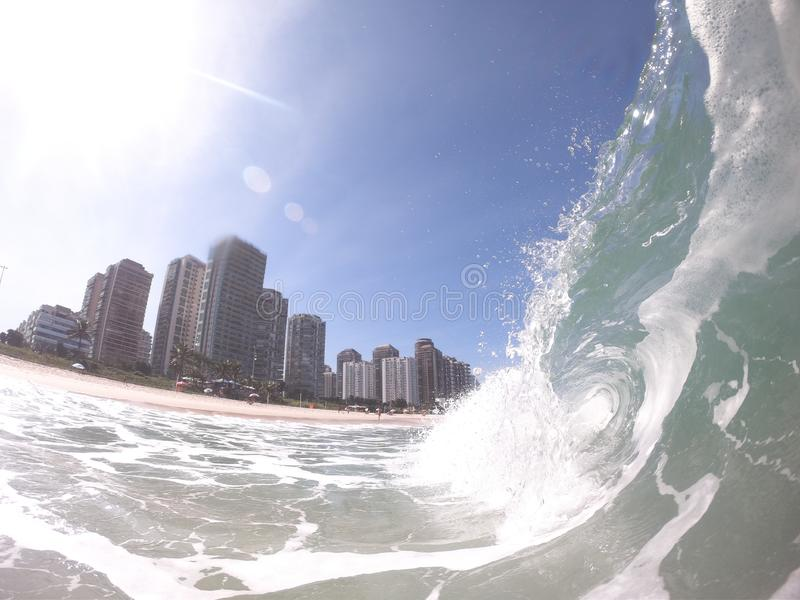 Wave on the shore break of Barra da Tijuca beach Rio de Janeiro - Brazil royalty free stock images