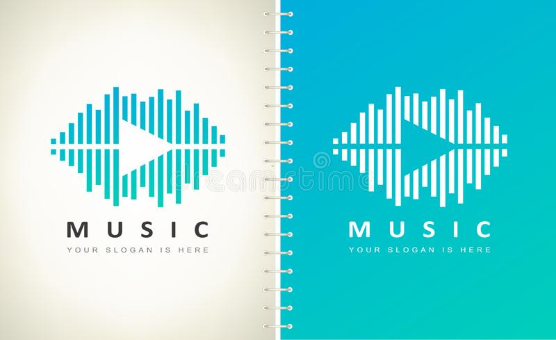 Wave sound and play logo vector. Audio equalizer logo. vector illustration