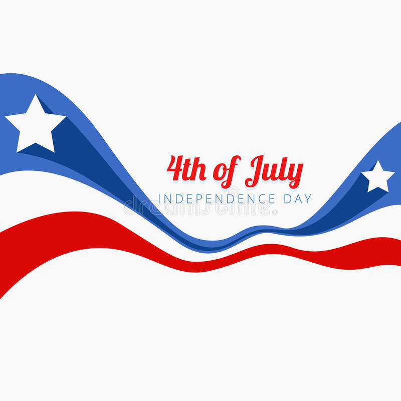 Wave style 4th of july vector illustration