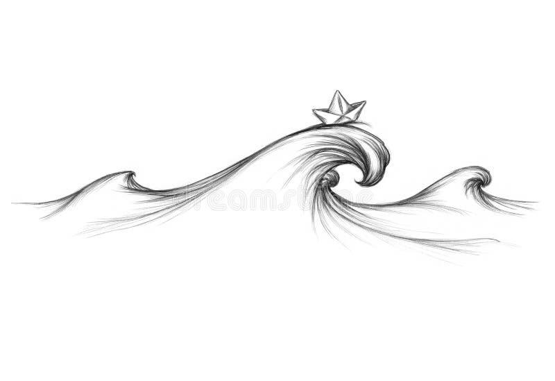 Wave sul mare con la barca di carta illustrazione di stock