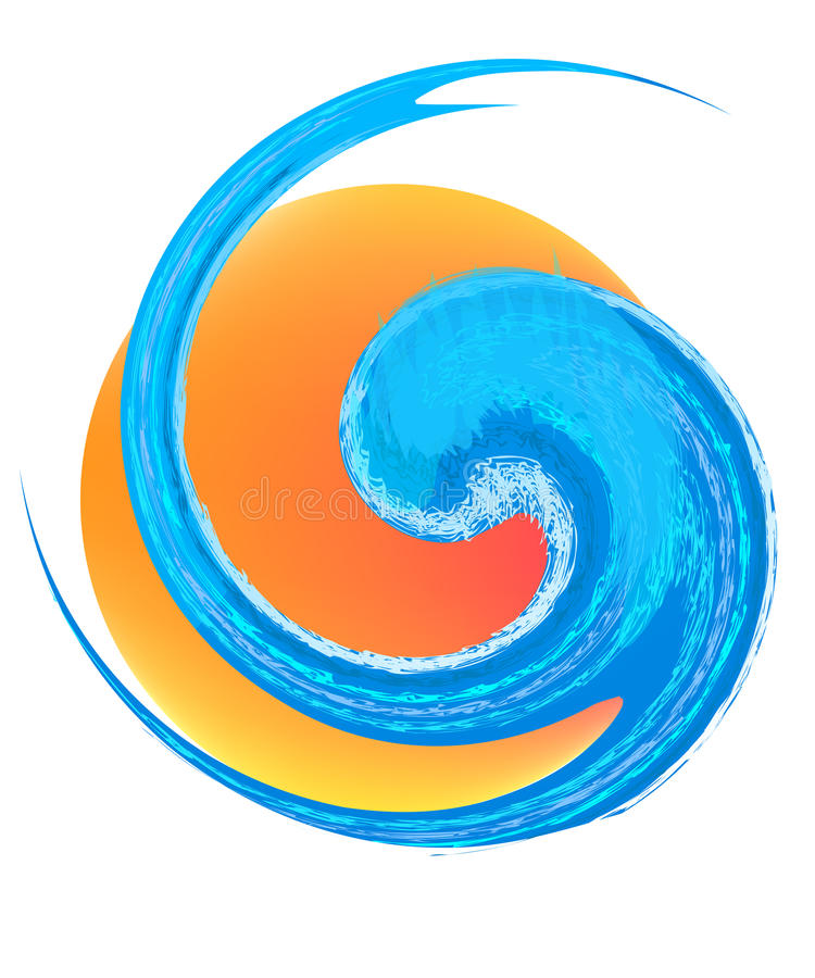 Wave and sun logo royalty free illustration