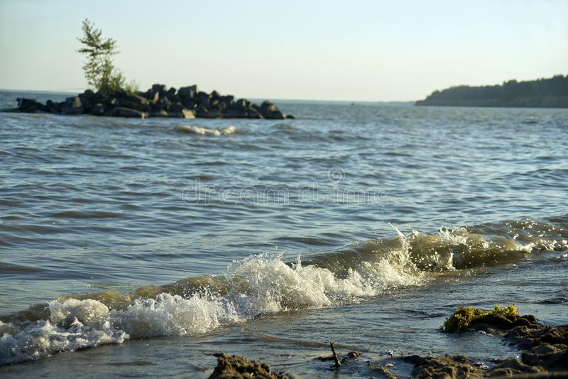 Wave on the river. stock images