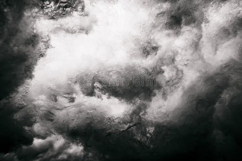 Wave underwater. Black and white royalty free stock photo