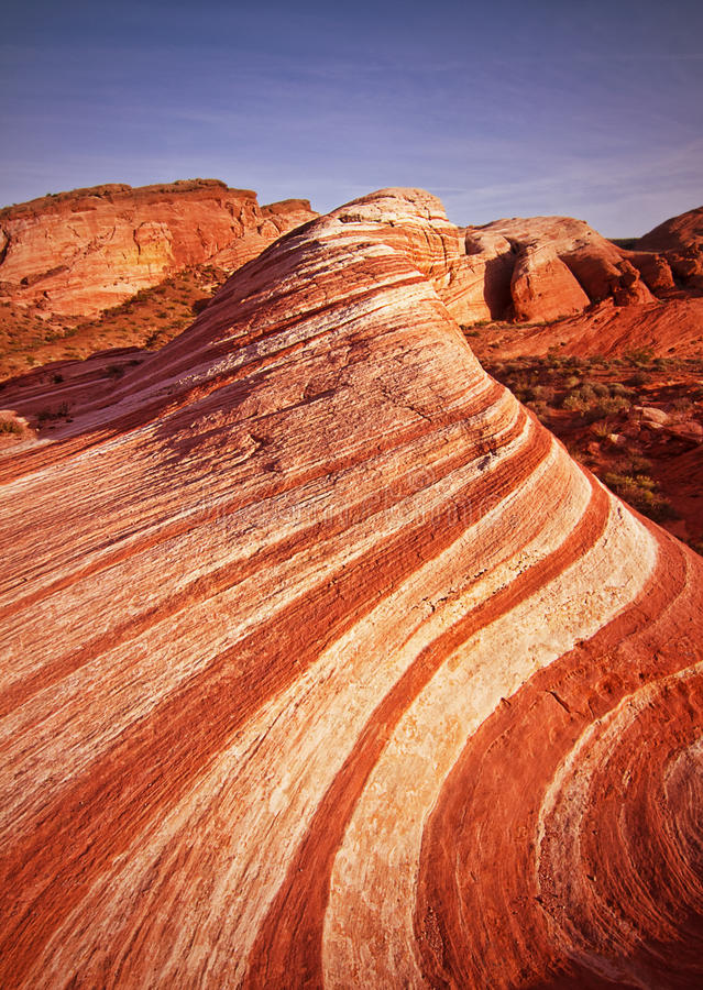 The Wave - Valley of Fire State Park. Valley of Fire State Park near Las Vegas in Nevada. Wave royalty free stock image