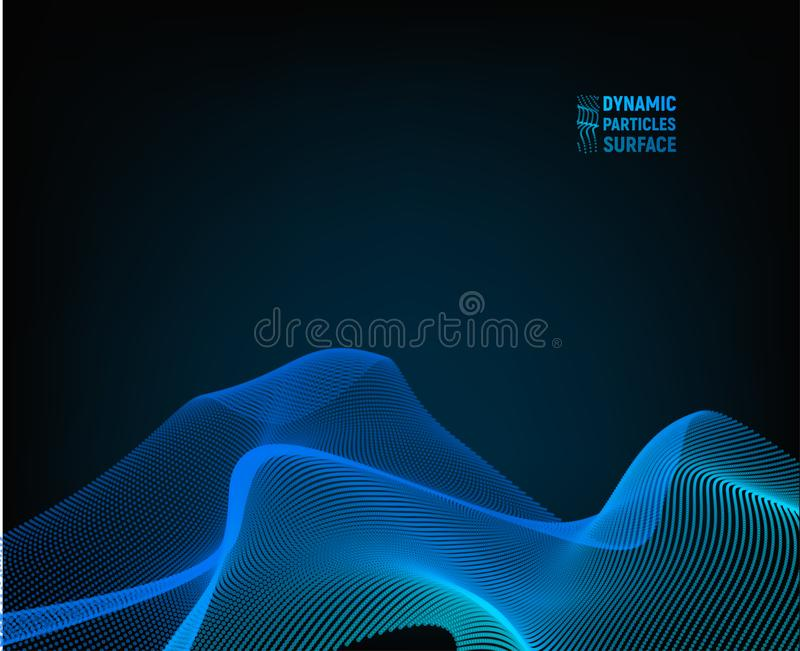 Wave Vector Background. Ripple Grid. Abstract Illustration. 3D Technology Style blue surface. royalty free illustration