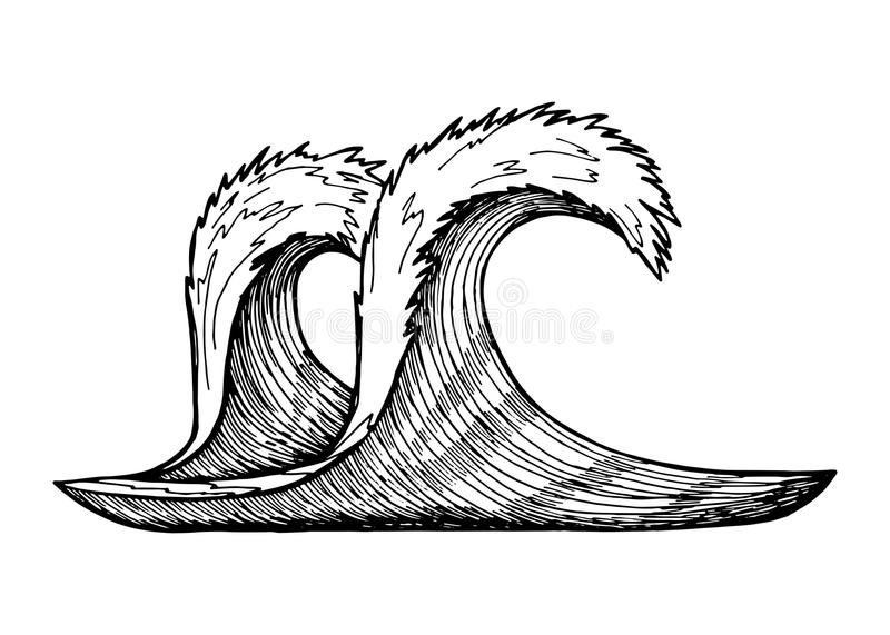 Wave vector sketch. black hand-drawn insulated drawing.  vector illustration