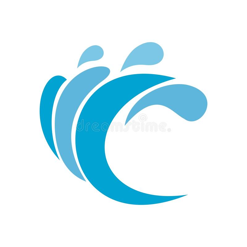 Wave water composition icon, flat style. Wave water composition icon. Flat illustration of wave water composition icon isolated on white background royalty free illustration