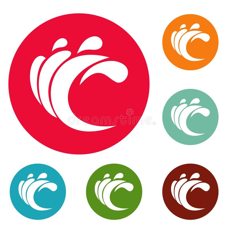 Wave water composition icons circle set. Isolated on white background stock illustration