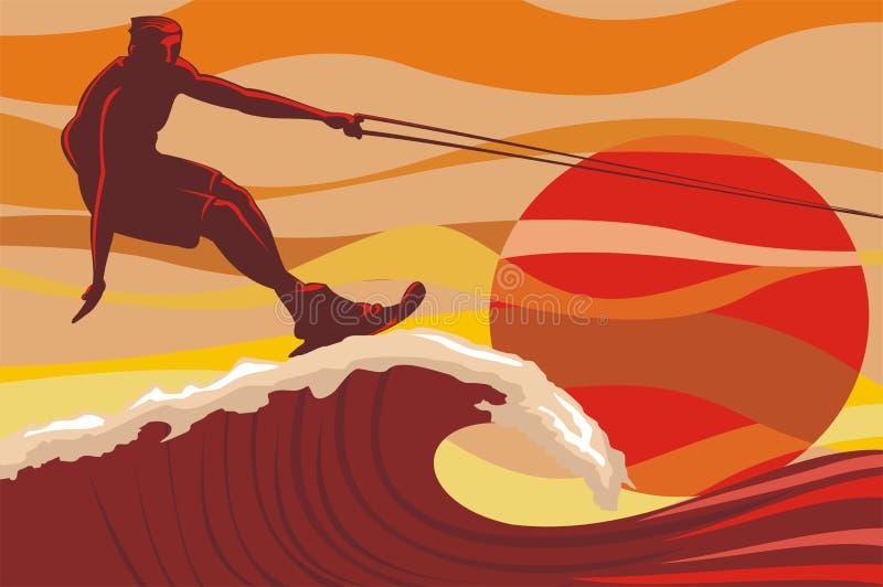 Download On the wave - water skiing stock vector. Image of ocean - 23359189