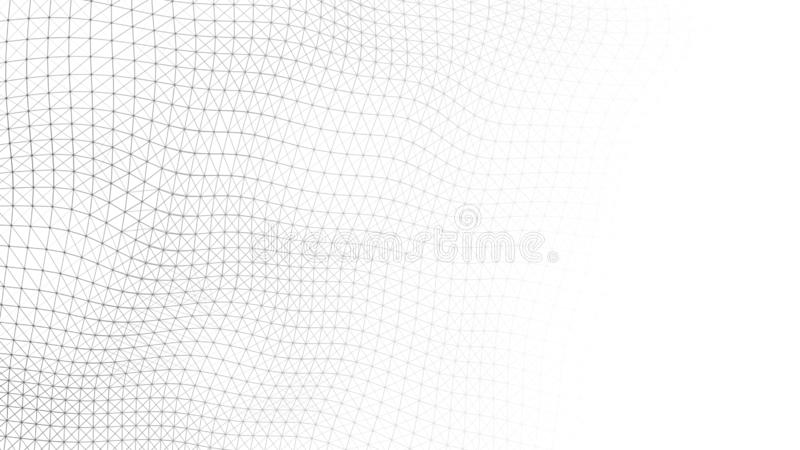 Wave white background. Wave with connecting dots and lines on dark background. Wave of particles. 3D rendering stock image