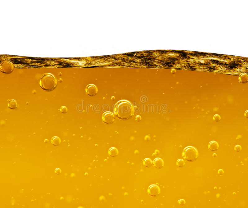 Wave from a yellow liquid with air bubbles on white background royalty free illustration