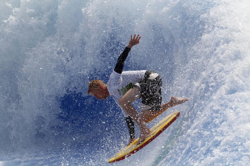 Waveboard世界冠军在马略卡 库存照片