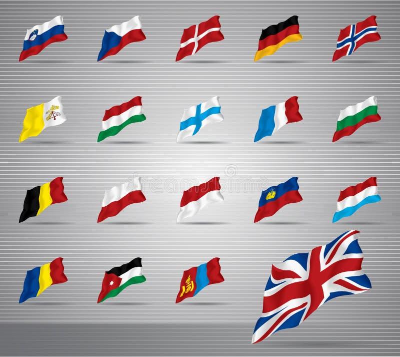 Waved National Flags Stock Photos