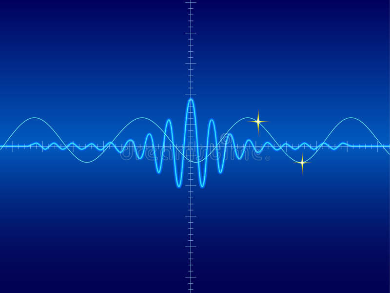 Waveform in blue background. Illustration of waveform with stars in blue background royalty free illustration