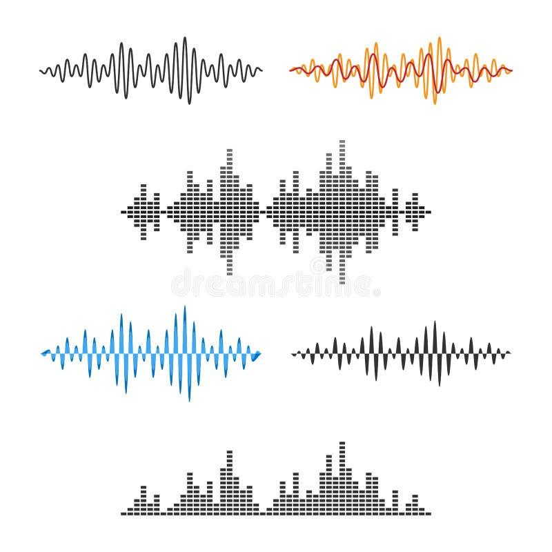 Waveform kształt Soundwave Audio wykresu Falowy set wektor royalty ilustracja