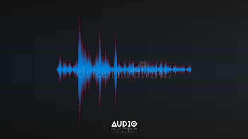 Wavefrom del audio del vector La música abstracta agita la oscilación Visualización futurista de la onda acústica Tecnología sint ilustración del vector
