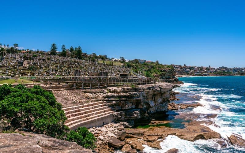Waverley sjösidakyrkogård upptill av klipporna på Bronte i Sydney Australia royaltyfria foton