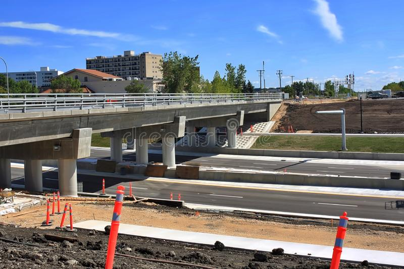 Waverley Street Underpass Construction August 2019. Winnipeg  manitoba  canada. Looking East on waverley street grass in place and lines for traffic set royalty free stock photography