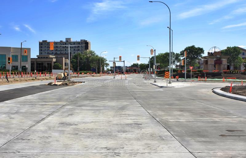 Waverley Street Underpass Construction August 2019. Winnipeg  manitoba  canada. Looking east on Taylor avenue sidewalk and bike path completed stock photos