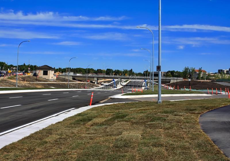 Waverley Street Underpass Construction August 2019. Winnipeg  manitoba  canada. Looking north on waverley street grass in place and lines for traffic set stock photography