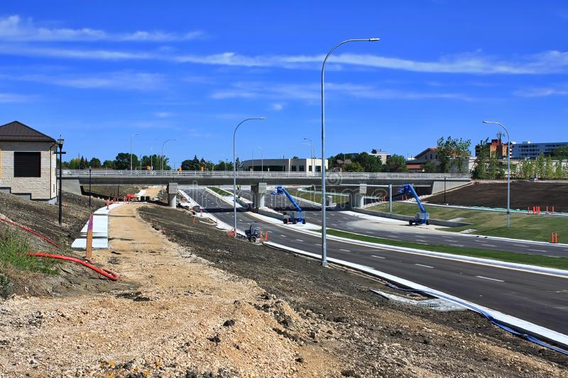 Waverley Street Underpass Construction August 2019. Winnipeg  manitoba  canada. Looking north on waverley street grass in place and lines for traffic set royalty free stock images