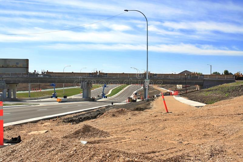 Waverley Street Underpass Construction August 2019. Winnipeg  manitoba  canada. Looking south on waverley street grass in place and lines for traffic set royalty free stock image
