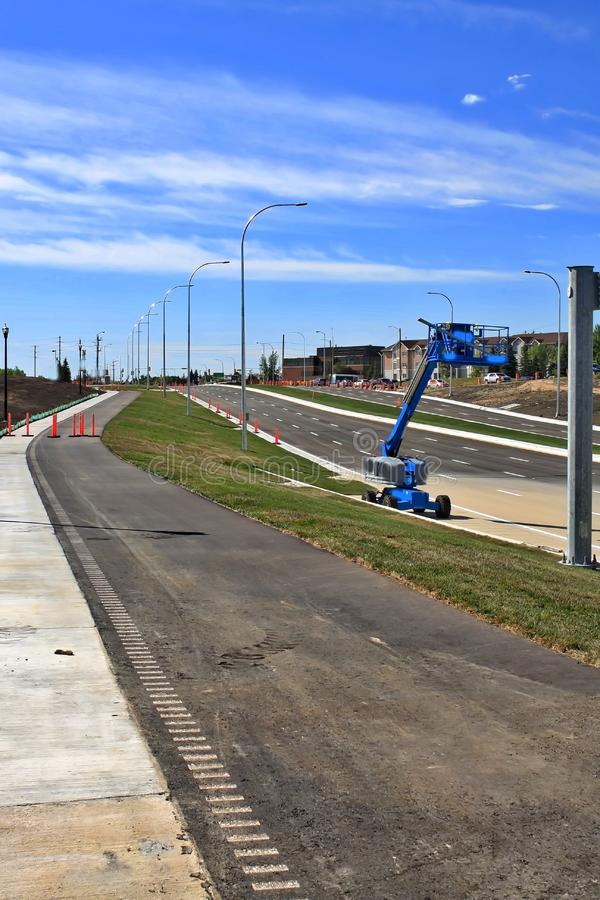 Waverley Street Underpass Construction August 2019. Winnipeg  manitoba  canada. Looking south on waverley street grass in place and lines for traffic set stock photos