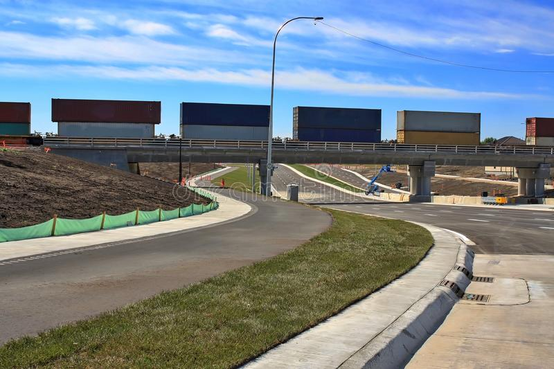 Waverley Street Underpass Construction August 2019. Winnipeg  manitoba  canada. Looking south on waverley street grass in place and lines for traffic set royalty free stock photos