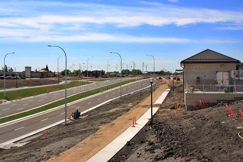Waverley Street Underpass Construction August 2019. Winnipeg  manitoba  canada. Looking South on waverley street grass in place and lines for traffic set stock photography