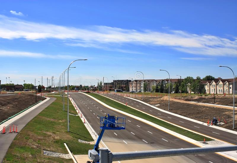 Waverley Street Underpass Construction August 2019. Winnipeg  manitoba  canada. Looking south from  on top of rail bridge waverley street ,grass in place and royalty free stock photos