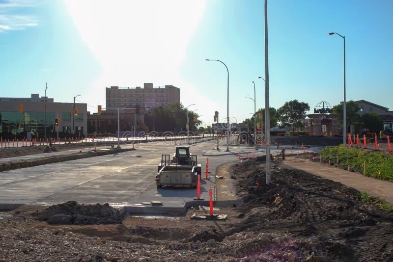Waverley Street Underpass Construction June 2019. Winnipeg manitoba  canada. Looking east on taylor avenue royalty free stock photo