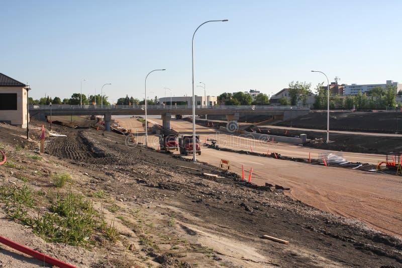 Waverley Street Underpass Construction June 2019. Winnipeg manitoba  canada. Looking north on waverley street rail bridge in background royalty free stock photos