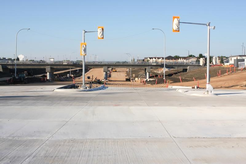 Waverley Street Underpass Construction June 2019. Winnipeg manitoba canada.Looking  south on waverley street, road works in process royalty free stock photography