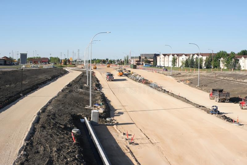 Waverley Street Underpass Construction June 2019. Winnipeg manitoba  canada. Looking south on top of the rail bridge stock photography