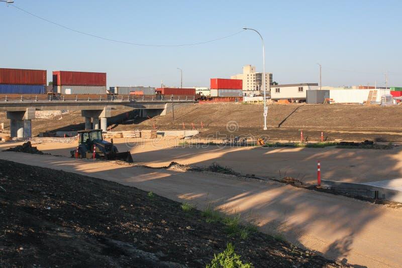 Waverley Street Underpass Construction June 2019. Winnipeg manitoba canada.Looking southwest waverley street road works in process stock photos