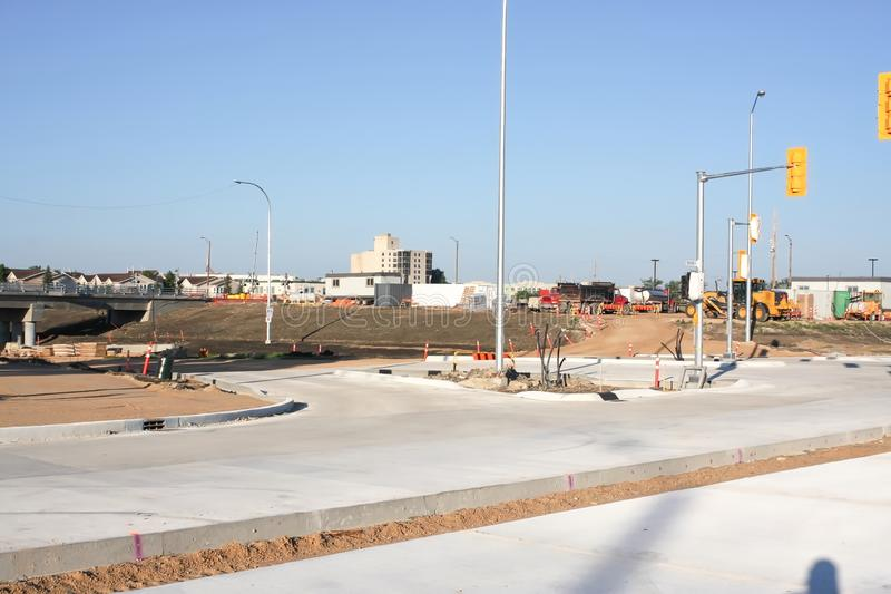 Waverley Street Underpass Construction June 2019. Winnipeg manitoba canada.Looking west waverley street road works in process stock image