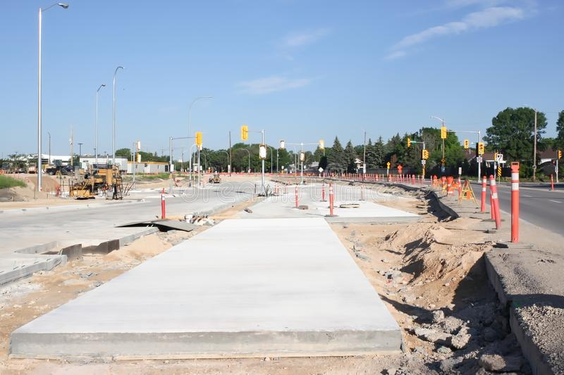Waverley Street Underpass Construction June 2019. Winnipeg manitoba  canada. Looking west  on taylor avenue stock images