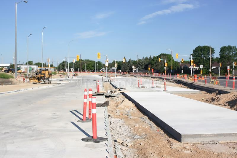 Waverley Street Underpass Construction June 2019. Winnipeg manitoba  canada. Looking west  on taylor avenue stock image