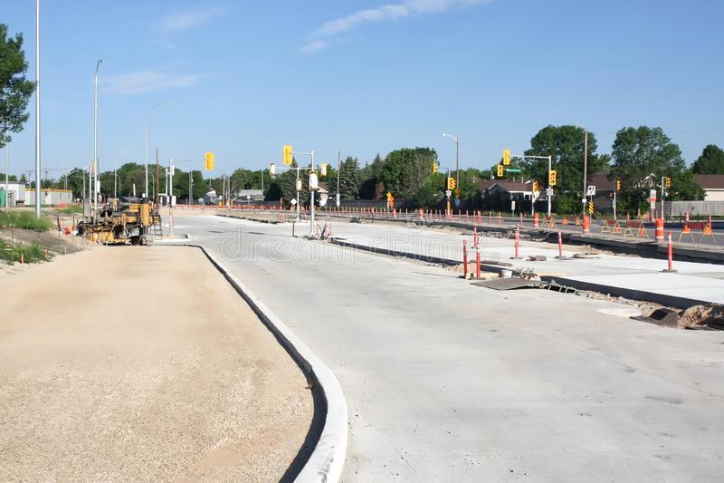 Waverley Street Underpass Construction June 2019. Winnipeg manitoba  canada. Looking east on taylor avenue stock photo