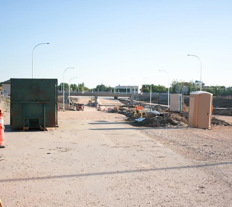 Waverley Street Underpass Construction June 2019. Winnipeg manitoba  canada. Looking north on waverley street rail bridge in background stock photo