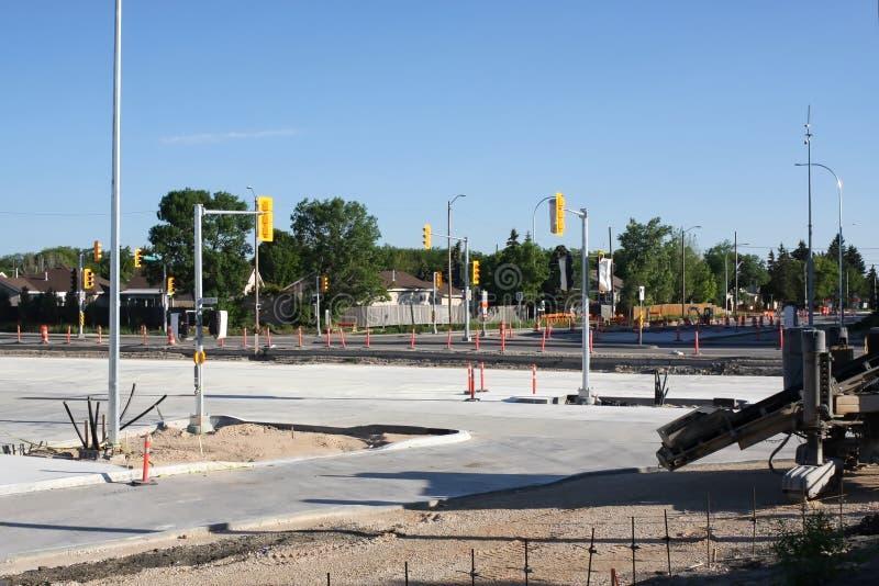Waverley Street Underpass Construction June 2019. Winnipeg manitoba  canada. Looking north on waverley street .Slipform paving machine in foreground royalty free stock photos